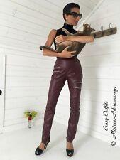 Lederhose Leder Hose Burgunder Zipper Knalleng Größe 32 - 58 XS - XXXL