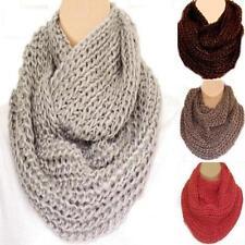 Super Chunky Knit Circle Loop Cowl Infinity Scarf Snood Grey, Red, Choc, Mocha