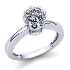 1carat Round Cut Diamond Ladies Cluster Solitaire Engagement Ring 14K Gold