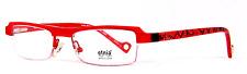 Etnia Barcelona Nantes Rectangular Half Rim Black Red Thin Eyeglasses Spain
