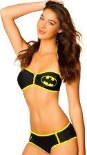 DC COMICS Batgirl Bat Push Up Double Zipper Bikini Juniors Bathing Suit S-XL New