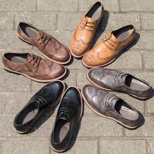 retro mens carve oxford brogue shoes wing tip dress formal lace up shoes plus sz