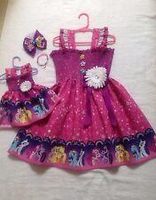 New Handmade Rainbow My Little Pony DressToddler/Girls (2T - 7/8) Doll Dress,Bow