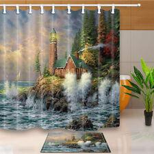 Seaside Lighthouse Bathroom Waterproof Fabric Shower Curtain Doormat Hooks Set