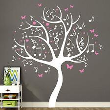11164 Wandtattoo Musik Bäumchen 2-farbig Noten Schmetterlinge Baum mehrfarbig
