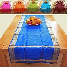 Camino de MESA 220 cm x 55cm Sari Mantel Brocado Bufanda Oriente ALFOMBRA INDIA