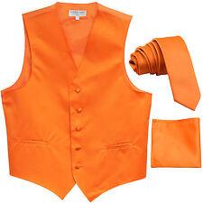 """New Men's Orange vest Tuxedo Waistcoat_1.5"""" necktie & hankie set wedding"""