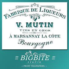 Shabby Chic STENCIL: Vintage French Liqueurs Advert (DIY Furniture Print) #005