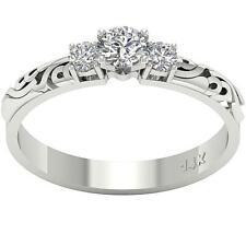 Designer 3 Stone Engagement Ring 0.50Ct Round Cut Diamond 14Kt White Yellow Gold