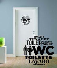 WC Schild Aufkleber VIELE MOTIVE Wandtattoo Bad Toiletten Türaufkleber Spruch