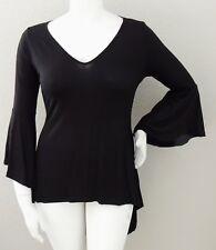 Yummy Plus V-Neck Bell Sleeve High Low Stretch Knit Tunic Top Black 1X 2X 3X New