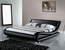 Designer Polsterbett Lederbett SCHWARZ gewelltes wellenförmiges Luxus Leder Bett