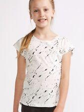 New Girls White Black Print T-Shirt Short Sleeve Ages 8 - 14 Free P+P