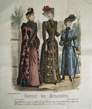 GRAVURE COULEURS MODE FEMININE HIVER ROBES MANTEAUX PARC CHATEAU DECEMBRE 1889