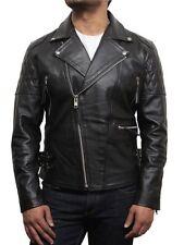 Brandslock Mens Genuine Leather Biker Jackets  Distressed