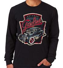 Velocitee Da Uomo Manica Lunga T-Shirt Caldo Strada Benzina American Rat Rod CAMION V195
