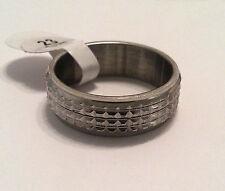 Bigiotteria Anello acciaio inox colore argento spessa 7,5 mm nuziale lucido