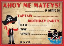 CHILDRENS  PIRATE THEME BIRTHDAY PARTY INVITATIONS KIDS INVITES BOYS & GIRLS