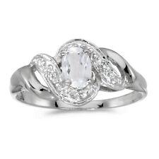14k White Gold Oval White Topaz And Diamond Swirl Ring