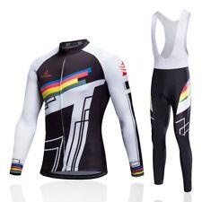 Men's Padded Cycle Long Bib Pants Tight and Long Sleeve Jersey Cycling Kit S-5XL