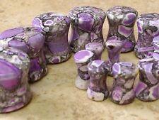 "PAIR Purple Crazy Agate Stone Plugs Gauges 8g,6g,4g,2g,0g,00g,1/2"""