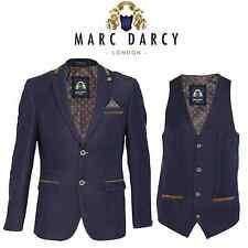 Mens Marc Darcy Reece Navy Denim Look Contrast Detailing Suit Blazer Wasitcoat