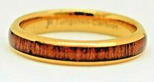 Men's Tungsten Carbide Gold Band Ring Men's Wedding Gift Ring Koa Wood Inlay 4mm