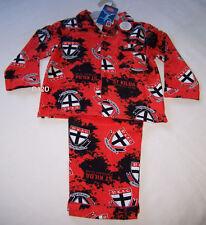 St Kilda Saints AFL Boys Red Black Printed Flannel Pyjama Set Size 5 New