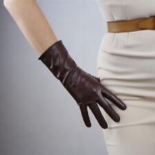 Tech Gloves Faux Leather Wrist Long Light Brown Coffee Tan Camel Touchscreen