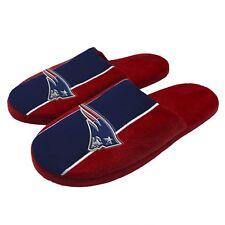 New England Patriots NFL Men's Big Logo Stripe Slipper, 4 Sizes Available, FREE