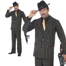 Adult Gangster Mafia Costume Black Gold Pinstripe Mens 20's Fancy Dress