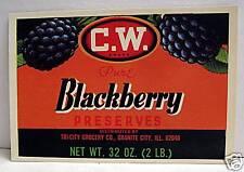 Tri City C W Blackberry Preserves Label Granite City Il