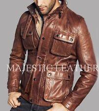 Men's Biker Vintage Antique Brown Studded Pockets Cafe Racer Real Leather Jacket