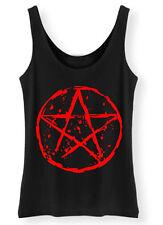Pentagram Tank Top SCREENPRINTED Ladies Womens Rock Goth Punk vest Biker Gothic