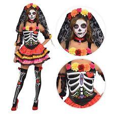 Donna GIORNO DEI MORTI SENORITA Zucchero Halloween Scheletro Costume UK