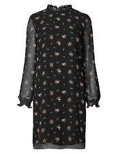 Marks & Spencer Black Chiffon Ditsy Long Sleeved Tunic Dress with Frill Neckline