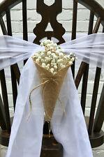 Empty Chair Flower Decoration Rustic Wedding Venue Cones Hessian Flower Sack