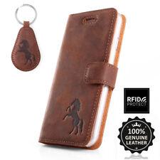 SURAZO® Echtes Leder Handy RFID-Blocking Wallet Case Etui Schutzhülle mit Pferd