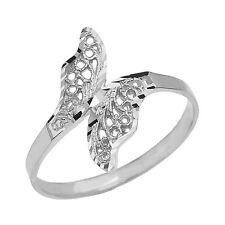 Fine 10k White Gold Diamond Cut Filigree Unique Butterfly Wrap Ring