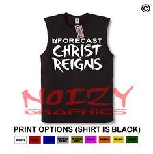 Christ Reigns #1 Christian SLEEVELESS Shirt Jesus Religious Black Muscle Tee