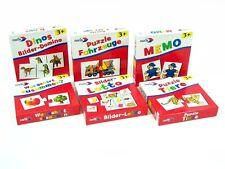 NORIS Spiele Lernspiele Kinder 3 Jahre Tier-Puzzle Memo Bilder Lotto Dino Domino