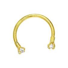 Piercing Horseshoe Circular Barbell (18 Gauge 14K Solid Gold Cubic Zirconia Body