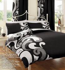 Grandeur Black/Grey Duvet Covers Quilt Covers Reversible Bedding Sets All Sizes