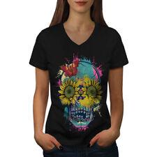 Sun Flower Sugar Skull Women V-Neck T-shirt NEW | Wellcoda
