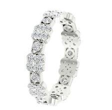 Eternity Wedding Round Diamond Ring VVS1 F 2.25Ct Prong Set 14K Solid White Gold