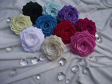 10 Large Fait Main Ruban Satin Roses FLOWER CRAFT/À faire soi-même/mariage/Appliques