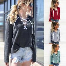 Women Hoodie Sweatshirt Lace Up Long Sleeve Coat Sports Hooded Pullover Shirt UK