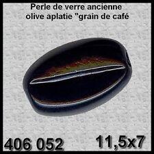 406052***30 perles anciennes verre  olive côtelée 11,5x7mm NOIR