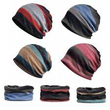 Multi-function Beanies Cap Scarf Mens Stripes Cotton Hat Neck Warmer Headwear