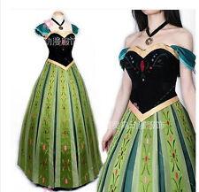 Frozen Snow Queen Anna Cosplay Costume Cos coronation Dress women